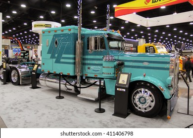 Louisville, Kentucky, USA March 31, 2016: Truck Peterbilt at Mid-American Tracking show 2016, March 31, 2016, Louisville, Kentucky