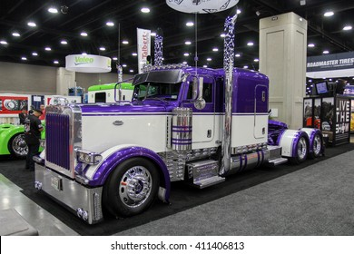 Louisville, Kentucky, USA March 31, 2016: Truck Peterbuilt at Mid-American Tracking show 2016, March 31, 2016, Louisville, Kentucky