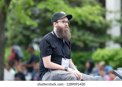 Louisville, Kentucky, USA - May 03, 2018: The Pegasus Parade, nate zuercher, member of the judah and the lion, music band, on a coervette, going down W Broadway
