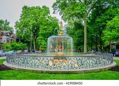 LOUISVILLE, KENTUCKY, USA - MAY 8 2016 - St. James Court Fountain. The St. James Court Neighborhood hosts the annual St. James Court Art Fair on the first week of October.