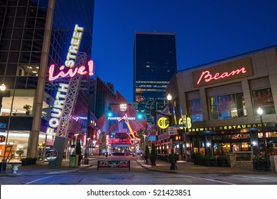 LOUISVILLE, KENTUCKY, USA - NOV 9, 2016. Fourth Street Live an entertainment and retail complex located in Louisville Kentucky on November 9, 2016.