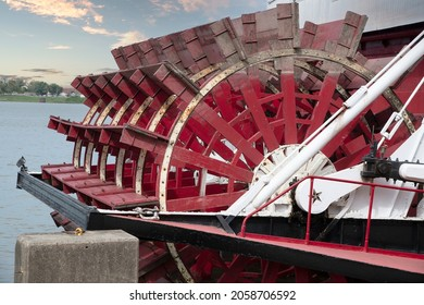Louisville, Kentucky, USA October 5th 2021. Abandoned Steamer Paddleboat at dockside