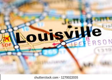 Louisville. Kentucky. USA on a geography map