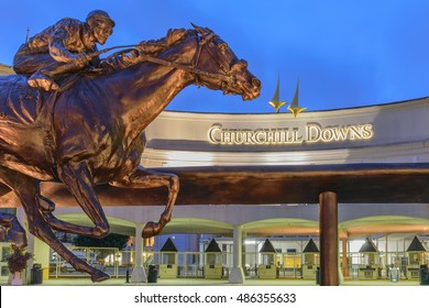 LOUISVILLE, KENTUCKY, USA - SEPT. 18, 2016: Main Entrance to Churchill Downs home of the Kentucky Derby on the 1st Saturday in May.