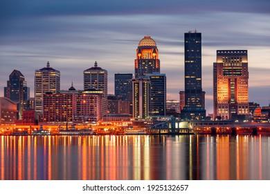 Louisville, Kentucky, USA skyline on the Ohio River at night. - Shutterstock ID 1925132657