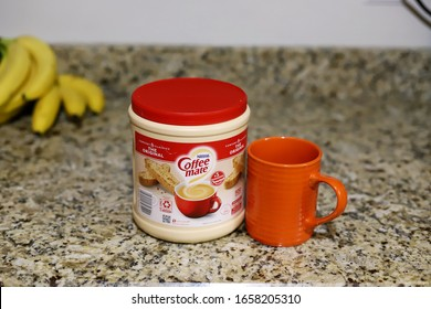 Louisville, Kentucky/USA-February 27, 2020: A container of Nestle powdered coffee creamer. The original comfort classic, Coffee Mate