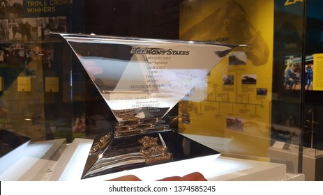 Louisville, Ky, May 27, 2016 American Pharoah's Triple Crown Trophy for United States Thoroughbred horse racing on display at the Kentucky Derby Museum