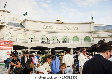 LOUISVILLE, KY - MAY 4: The exterior of Churchill Downs pictured on May 4, 2010 in Louisville, KY. Churchill Downs is home to the Kentucky Derby and Kentucky Oaks horse races.