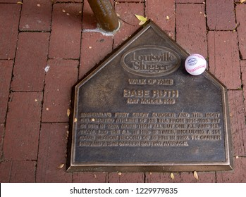 Louisville, KY / USA - 11/11/2018: Louisville Slugger Bat and Plaque Dedicated to Babe Ruth