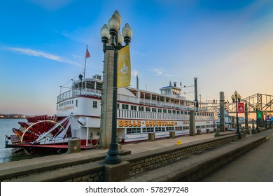 LOUISVILLE, KY, USA - FEB 5, 2016: Belle of Louisville at Waterfront Park Wharf in Louisville Ky. The Belle is the oldest operating Mississippi River-style steamboat in the World.