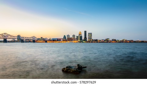 LOUISVILLE, KY, USA - FEB 5, 2016: Sunrise in Louisville. Located on the  banks of the Ohio River, Louisville is home to the Kentucky Derby, and the Muhammad Ali Center.