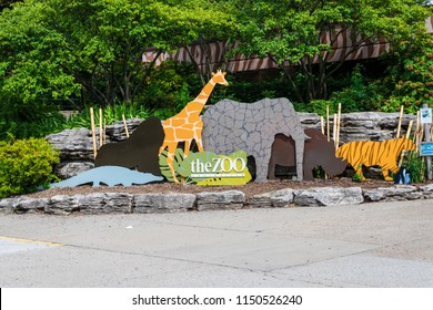 LOUISVILLE, KY, USA - JULY 22, 2018: The Louisville Zoo was created in 1969 on 134 acres of land and features about 1,700 animals.