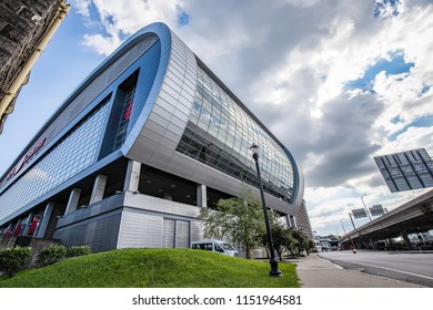 LOUISVILLE, KY, USA - JULY 23, 2018: The KFC Yum! Center is home to the University of Louisville's Men & Women's Basketball teams, as well as concerts and other events.