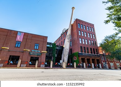 LOUISVILLE, KY, USA - JULY 23, 2018: The Louisville Slugger Museum & Factory is located in the downtown Louisville and showcases the past, present and future of the brands success.
