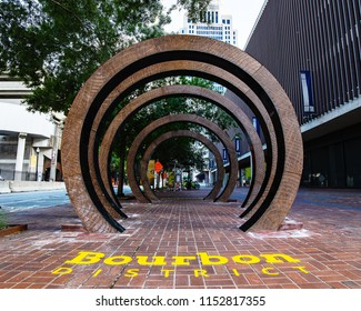 "LOUISVILLE, KY, USA - JULY 23, 2018: ""The Barrel"" is a piece of artwork meant to celebrate the bourbon renaissance in Downtown Louisville and showcase the cities heritage to whiskey."