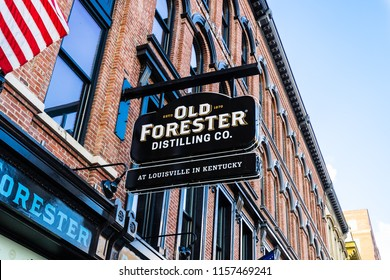 LOUISVILLE, KY, USA - JULY 24, 2018: Old Forester, owned by Kentucky Straight Bourbon Whiskey and produced by the Brown-Forman Corporation, is the longest running bourbon in the market.