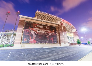 LOUISVILLE, KY, USA - July 24, 2018: The University of Louisville Papa John's Cardinal stadium recently was renovated to be able to reach a capacity of 55,000 for their football team.