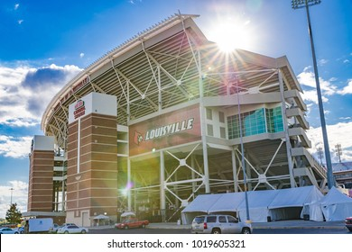 LOUISVILLE, KY, USA - October 24, 2017: The University of Louisville Papa John's Cardinal stadium recently was renovated to be able to reach a capacity of 55,000 for their football team.