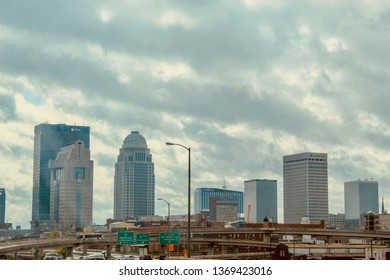 Louisville, KY/USA-April 14, 2019: A view of downtown Louisville, Ky on a cloudy day