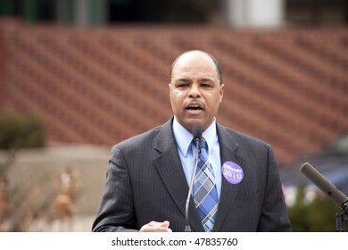 LOUISVILLE - MARCH 2: Maurice Sweeney, a US Senate candidate, speaks to a crowd during a protest of loss of unemployment benefits on March 2, 2010 in Louisville, KY.