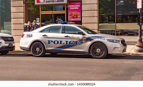 Louisville Police Car in the city - LOUISVILLE, KENTUCKY - JUNE 14, 2019