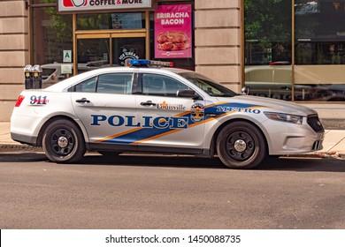 Louisville Police Car in the city - LOUISVILLE, KENTUCKY - JUNE 14, 2019