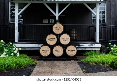 Louisville, United States: June 11, 2018: Stack of Bulleit Bourbon Barrels along the Kentucky Bourbon trail at their historic site