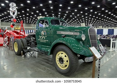 Louisville, USA - March 22, 2018: Historic truck Studebaker J30M 1937 year at MATS 2018, Louisville, Kentucky