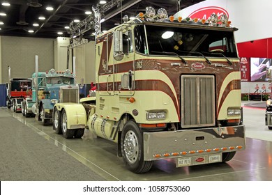 Louisville, USA - March 22, 2018: Historic american trucks. Peterbilt 362 at MATS 2018, Louisville, Kentucky