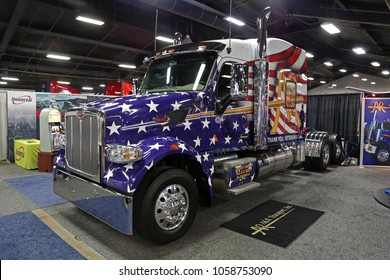 Louisville, USA - March 22, 2018: Peterbilt, American style truck at MATS 2018, Louisville, Kentucky