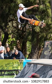 LOULE, PORTUGAL - APRIL 29, 2018: Bruno Senra during the 1st Stage DC Skate Challenge by Moche.