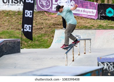 LOULE, PORTUGAL - APRIL 29, 2018: Tiago Fernandes during the 1st Stage DC Skate Challenge by Moche.