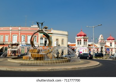 LOULE, PORTUGAL - August, 9, 2017: Exterior of the traditional portuguese market in Loule, Algarve, Portugal. This market is the biggest market hall of the algarve