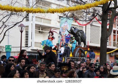 LOULE, PORTUGAL - FEB 12:  Samba dancers in a carnival parade on February 12, 2013 in Loule, Portugal.