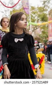 LOULE, PORTUGAL - FEB 2015: Colorful Carnival (Carnaval) Parade festival participants on Loule city, Portugal.
