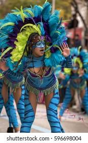 LOULE, PORTUGAL - FEB 2017: Colorful Carnival (Carnaval) Parade festival participants on Loule city, Portugal.