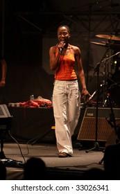 LOULE, PORTUGAL - JUNE 28: Rokia Traore performs onstage at Festival Med June 28, 2009 in Loule, Portugal.
