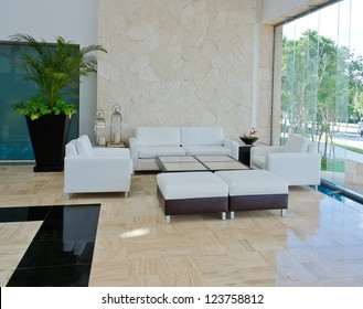 Lounge area of a hotel. Fragment of the modern lobby of the five stars hotel in Mexico. Interior design.