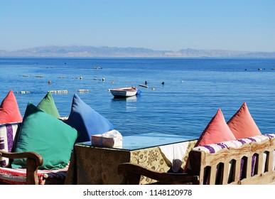 Lounge bar on the shore at Dahab, Egypt