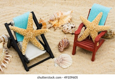 A lounge chair with starfish on a sand background, Relaxing on Vacation