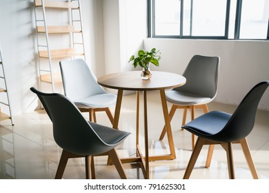 lounge in office with modern furniture