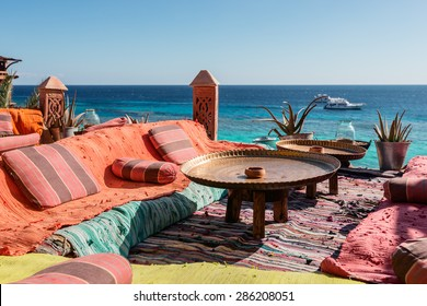 lounge and relax area on the Red Sea coast on sunny day, Sharm El Sheikh, Egypt