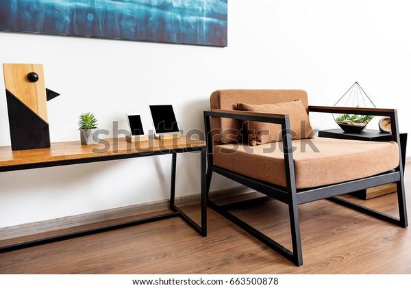 Lounger Desk Small Cabinet Light Apartment Stock Photo (Edit ...