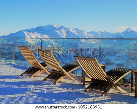 Lounging Alps Lounge Chairs Enjoy View Stock Photo Edit Now