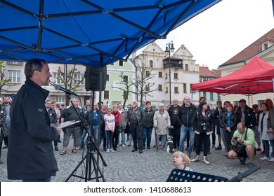 "LOUNY, CZECH REPUBLIC - MAY 28, 2019: ""Mame toho dost""  Protest against the Prime Minister Andrej Babis and Minister of Justice Marie Benesova."