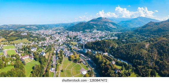 Lourdes aerial panoramic view. Lourdes is a small market town lying in the foothills of the Pyrenees.