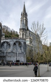 Lourdes, France; April 2018: Pilgrimage to Lourdes. It happens every year in May. Soldiers from all over the world come to pray blassed Virgin Mary.