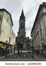 Lourdes, France; April 2018: Tourists visiting the Sanctuary of the Virgin of Lourdes and the surrounding area