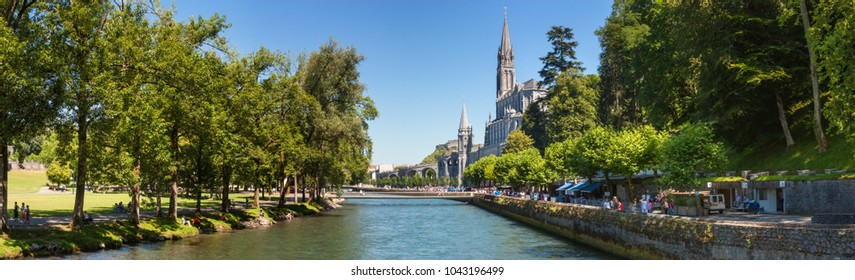 Lourdes, France - August 9, 2016. Panoramic view of the city Lourdes - the Sanctuary of Our Lady of Lourdes, the Hautes-Pyrenees department in the Occitanie region in south-western France