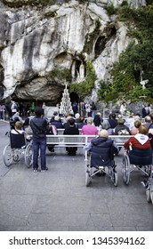 LOURDES, FRANCE - July 12, 2017: The Sanctuary of Our Lady of Lourdes, the destination for pilgrimage in France famous for the reputed healing power of its water on July 12, 2017 in Lourdes.